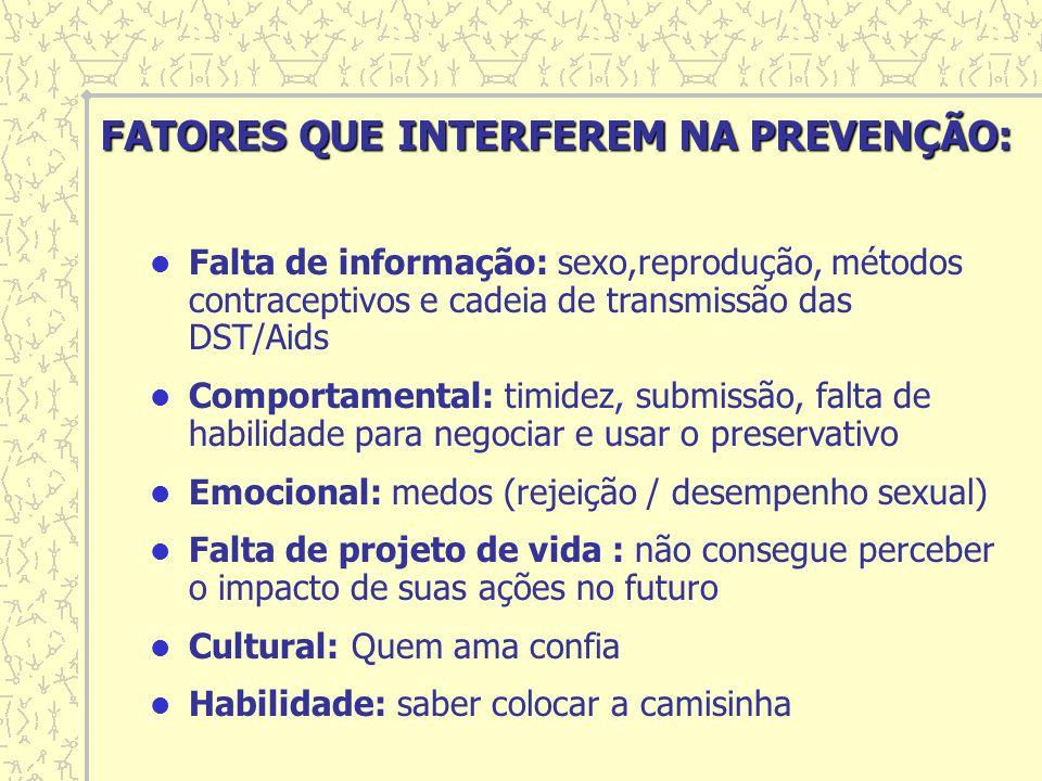 Falta de informação: sexo,reprodução, métodos contraceptivos e cadeia de transmissão das DST/Aids Comportamental: timidez, submissão, falta de habilid