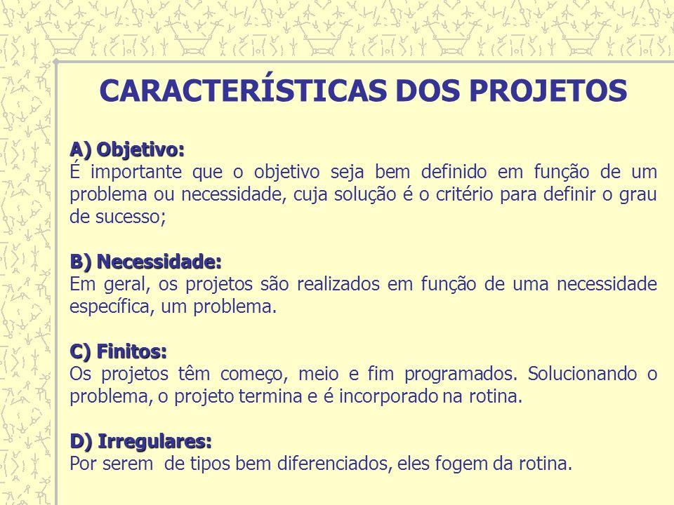 A) Objetivo: A) Objetivo: É importante que o objetivo seja bem definido em função de um problema ou necessidade, cuja solução é o critério para definir o grau de sucesso; B) Necessidade: B) Necessidade: Em geral, os projetos são realizados em função de uma necessidade específica, um problema.