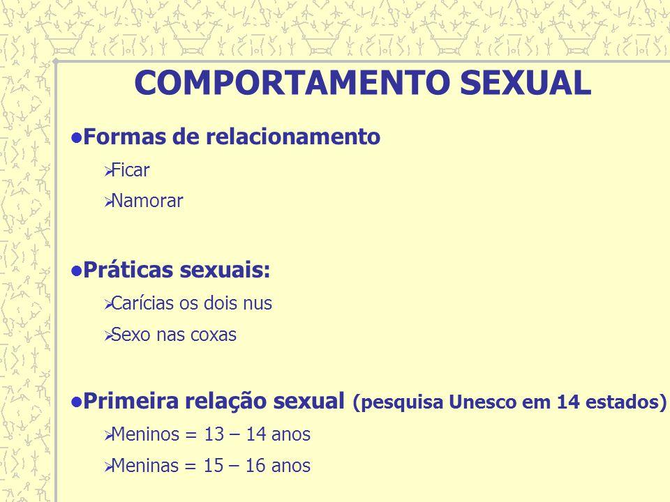 Formas de relacionamento Ficar Namorar Práticas sexuais: Carícias os dois nus Sexo nas coxas Primeira relação sexual (pesquisa Unesco em 14 estados) M