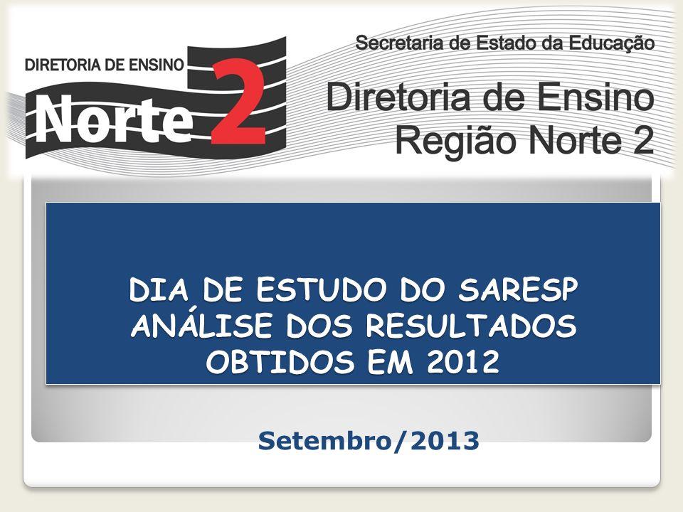 DIA DE ESTUDO DO SARESP ANÁLISE DOS RESULTADOS OBTIDOS EM 2012 Setembro/2013