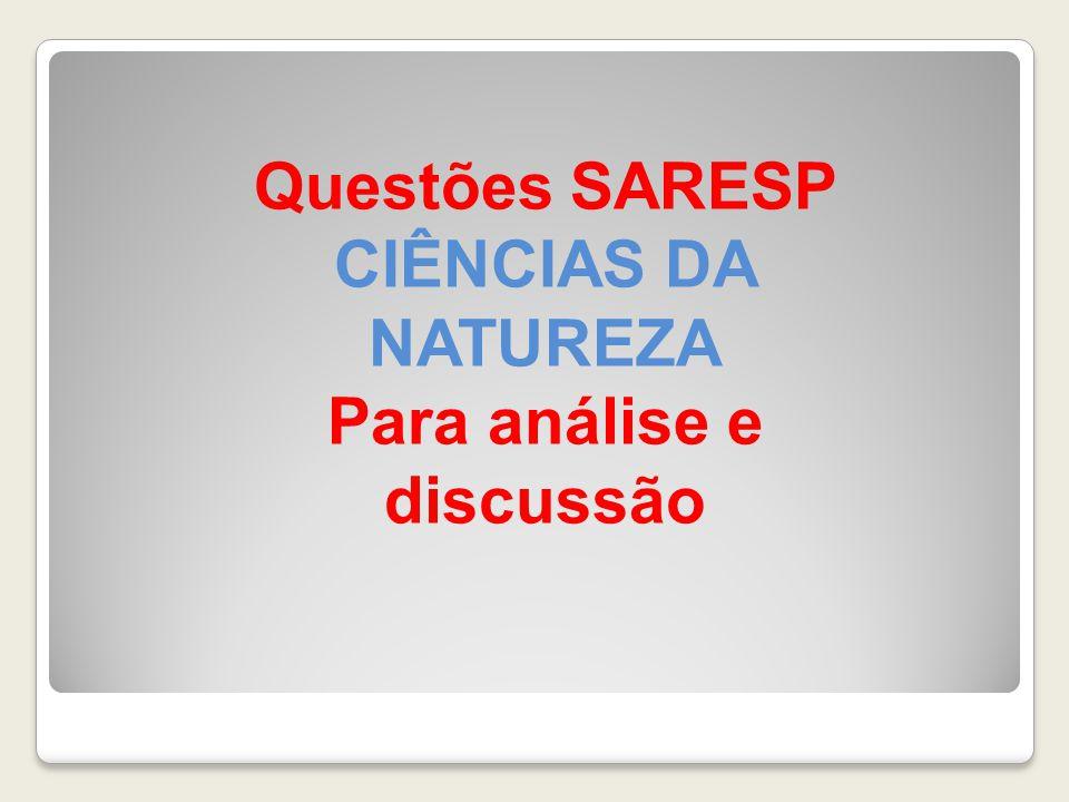 Questões SARESP CIÊNCIAS DA NATUREZA Para análise e discussão