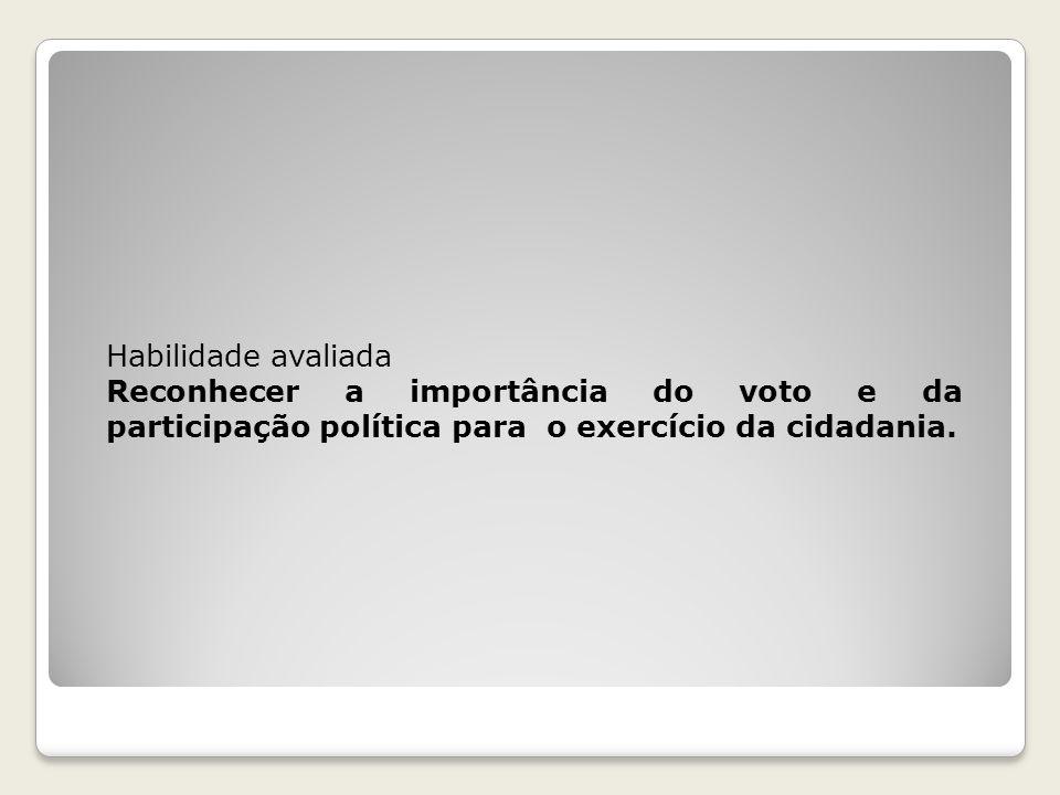 Habilidade avaliada Reconhecer a importância do voto e da participação política para o exercício da cidadania.
