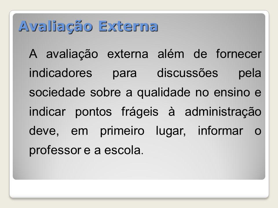 A avaliação externa além de fornecer indicadores para discussões pela sociedade sobre a qualidade no ensino e indicar pontos frágeis à administração d