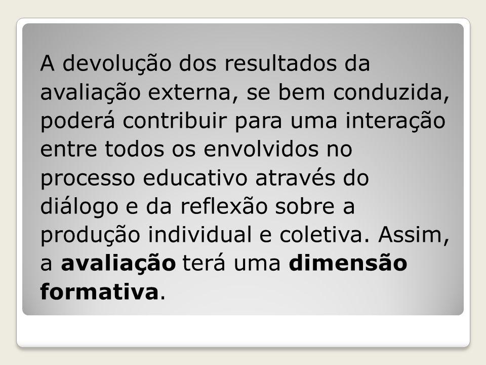 A devolução dos resultados da avaliação externa, se bem conduzida, poderá contribuir para uma interação entre todos os envolvidos no processo educativ