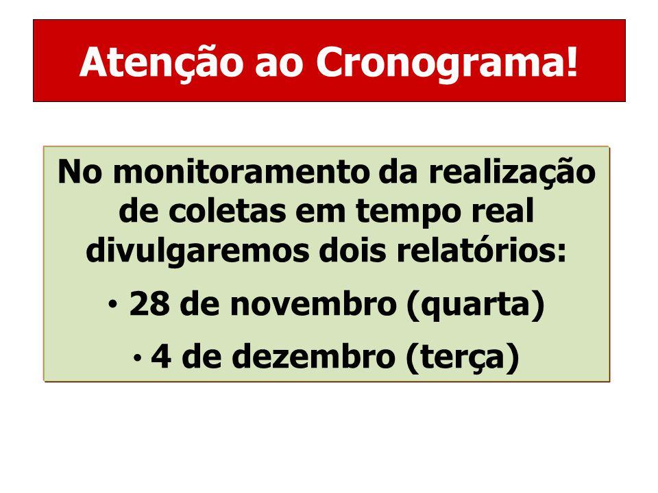 No monitoramento da realização de coletas em tempo real divulgaremos dois relatórios: 28 de novembro (quarta) 4 de dezembro (terça) Atenção ao Cronograma!