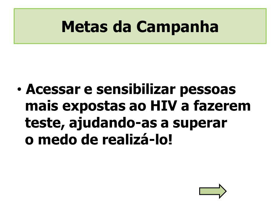 Acessar e sensibilizar pessoas mais expostas ao HIV a fazerem teste, ajudando-as a superar o medo de realizá-lo!