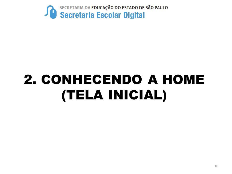 2. CONHECENDO A HOME (TELA INICIAL) 10