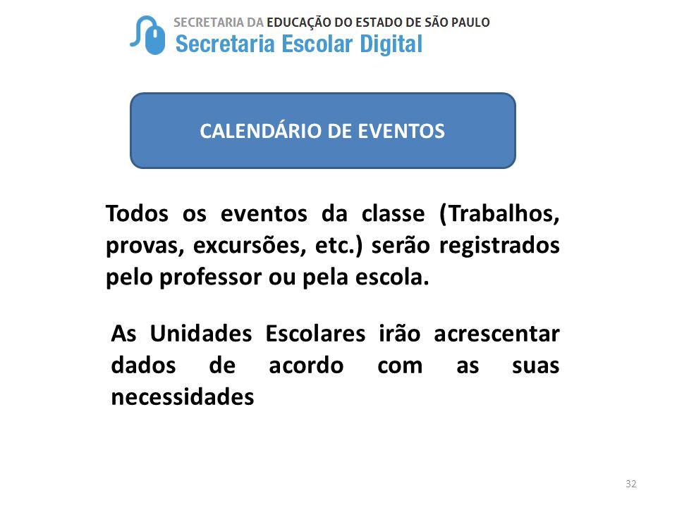 32 CALENDÁRIO DE EVENTOS Todos os eventos da classe (Trabalhos, provas, excursões, etc.) serão registrados pelo professor ou pela escola. As Unidades