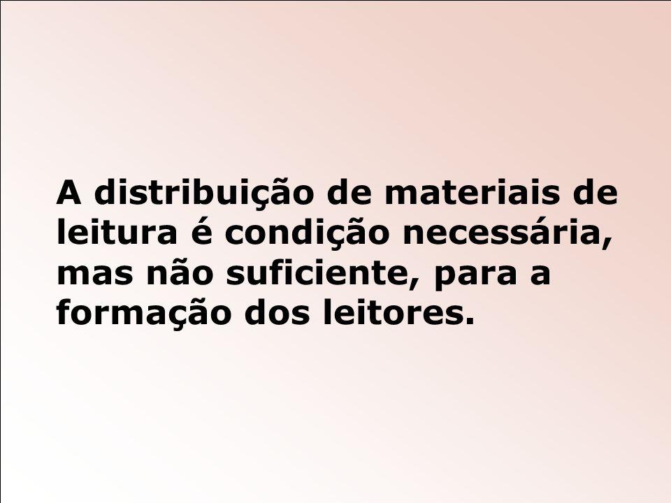 A distribuição de materiais de leitura é condição necessária, mas não suficiente, para a formação dos leitores.