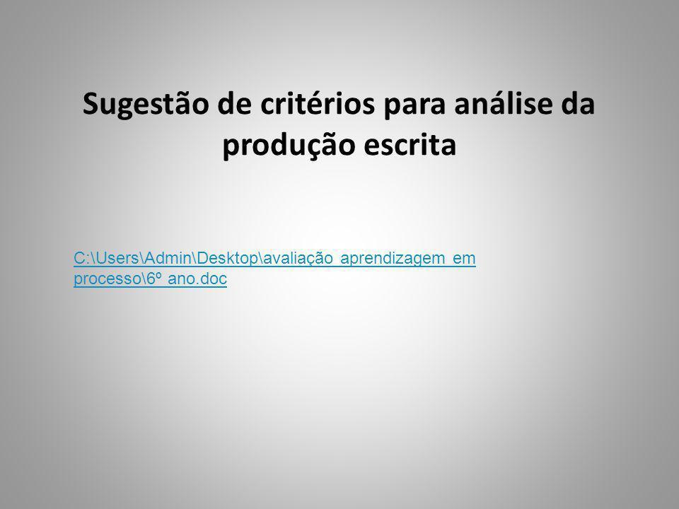 Sugestão de critérios para análise da produção escrita C:\Users\Admin\Desktop\avaliação aprendizagem em processo\6º ano.doc
