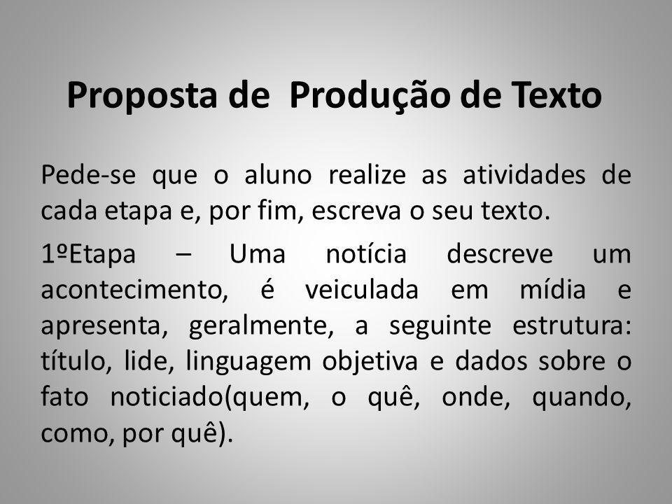 Proposta de Produção de Texto Pede-se que o aluno realize as atividades de cada etapa e, por fim, escreva o seu texto.