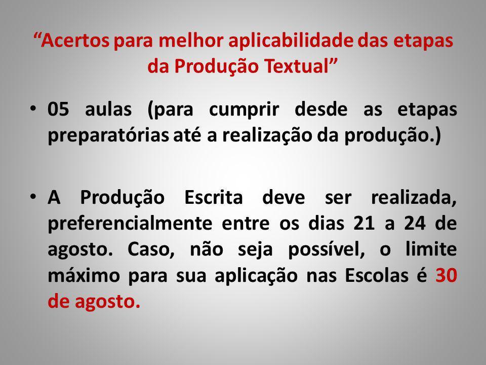 Acertos para melhor aplicabilidade das etapas da Produção Textual 05 aulas (para cumprir desde as etapas preparatórias até a realização da produção.) A Produção Escrita deve ser realizada, preferencialmente entre os dias 21 a 24 de agosto.
