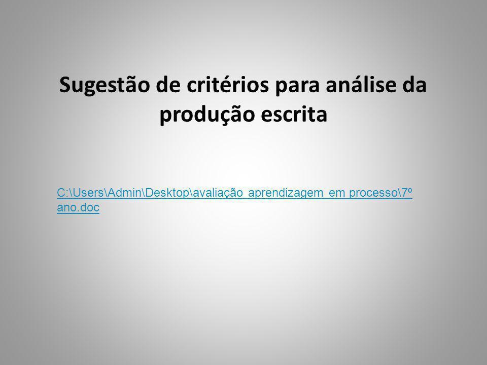 Sugestão de critérios para análise da produção escrita C:\Users\Admin\Desktop\avaliação aprendizagem em processo\7º ano.doc