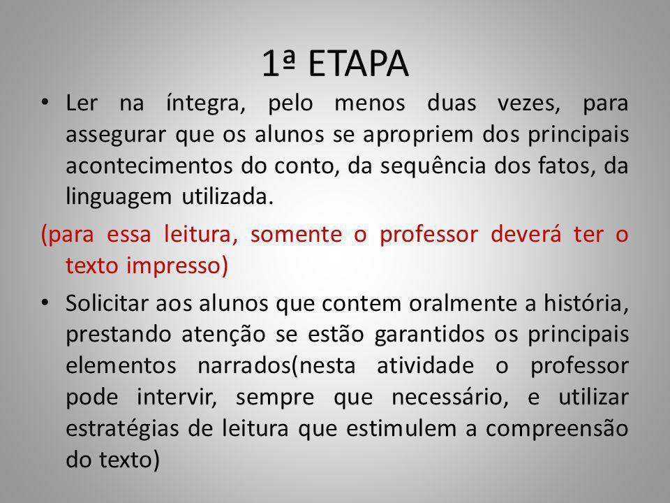 1ª ETAPA Ler na íntegra, pelo menos duas vezes, para assegurar que os alunos se apropriem dos principais acontecimentos do conto, da sequência dos fatos, da linguagem utilizada.