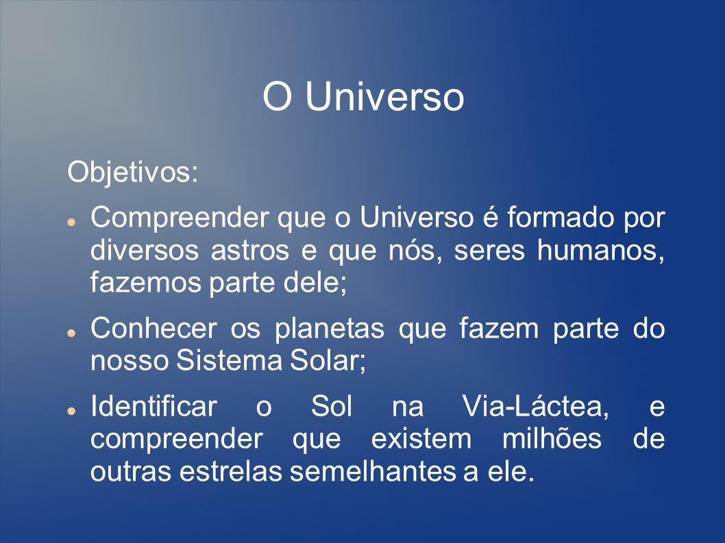 O Universo Objetivos: Compreender que o Universo é formado por diversos astros e que nós, seres humanos, fazemos parte dele; Conhecer os planetas que