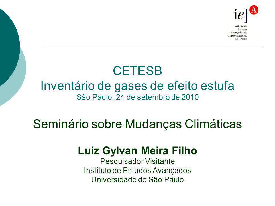 CETESB Inventário de gases de efeito estufa São Paulo, 24 de setembro de 2010 Seminário sobre Mudanças Climáticas Luiz Gylvan Meira Filho Pesquisador Visitante Instituto de Estudos Avançados Universidade de São Paulo