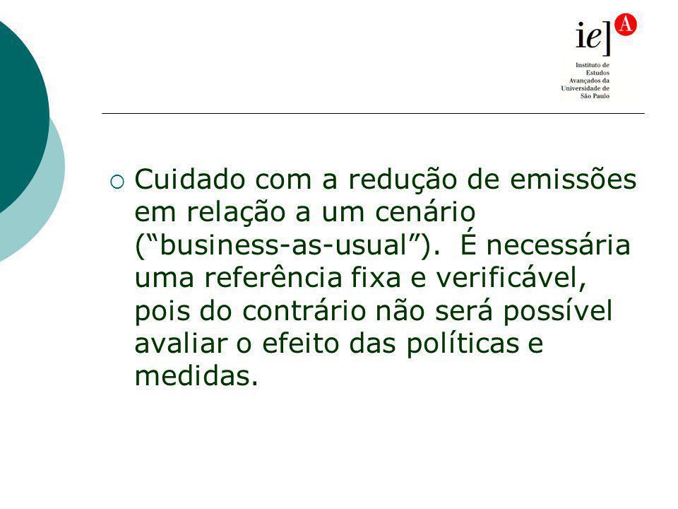 Cuidado com a redução de emissões em relação a um cenário (business-as-usual).