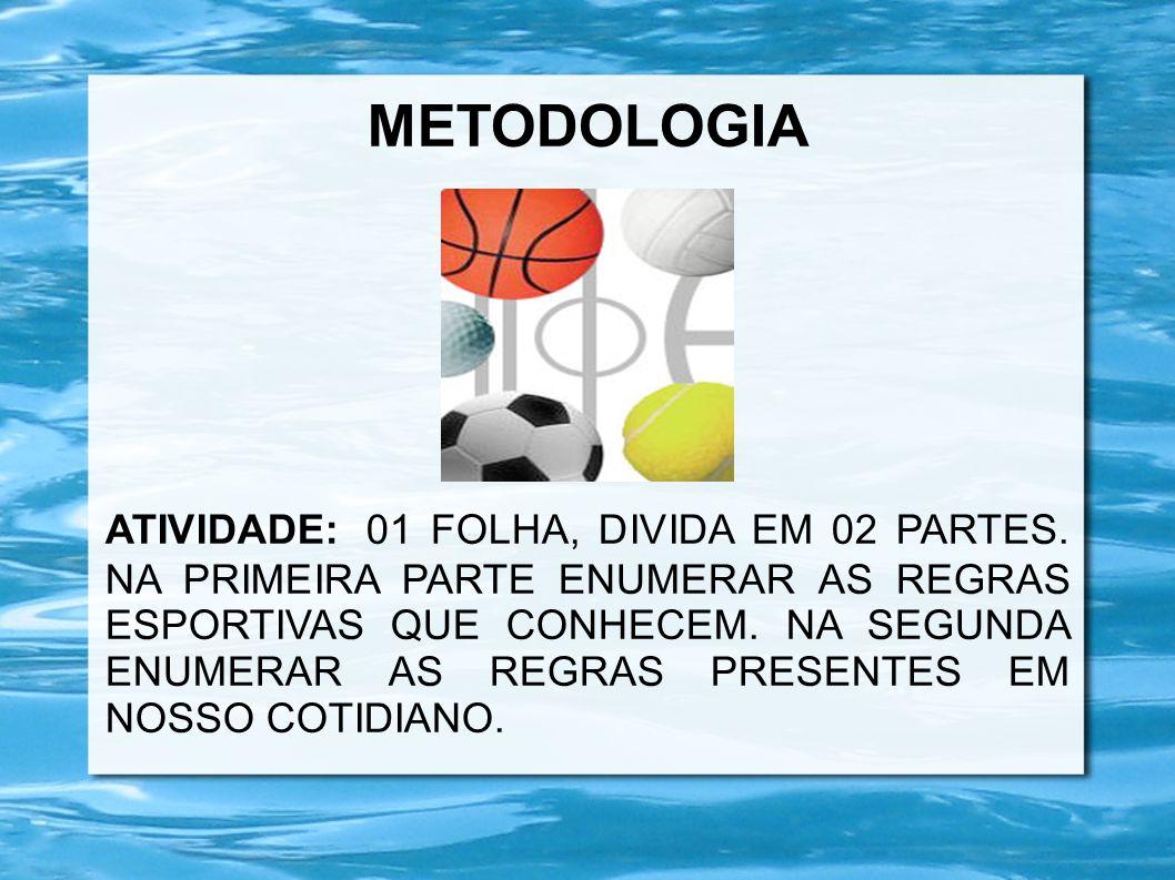 METODOLOGIA ATIVIDADE: 01 FOLHA, DIVIDA EM 02 PARTES. NA PRIMEIRA PARTE ENUMERAR AS REGRAS ESPORTIVAS QUE CONHECEM. NA SEGUNDA ENUMERAR AS REGRAS PRES