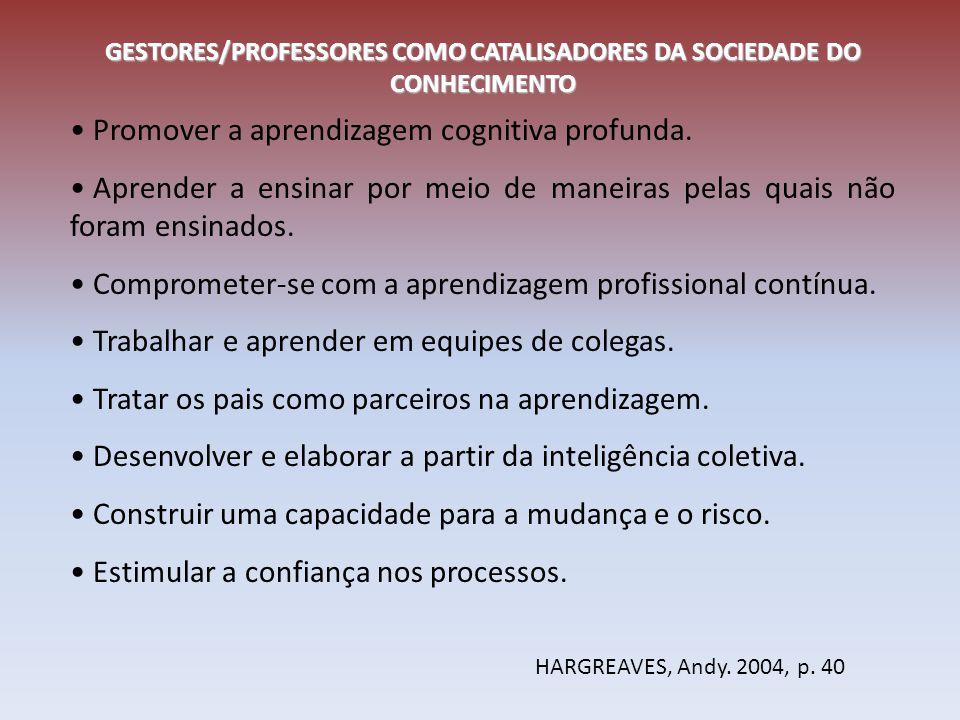 GESTORES/PROFESSORES COMO CATALISADORES DA SOCIEDADE DO CONHECIMENTO Promover a aprendizagem cognitiva profunda. Aprender a ensinar por meio de maneir