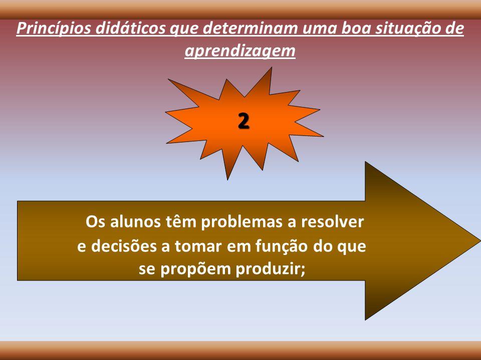 Princípios didáticos que determinam uma boa situação de aprendizagem Os alunos têm problemas a resolver e decisões a tomar em função do que se propõem