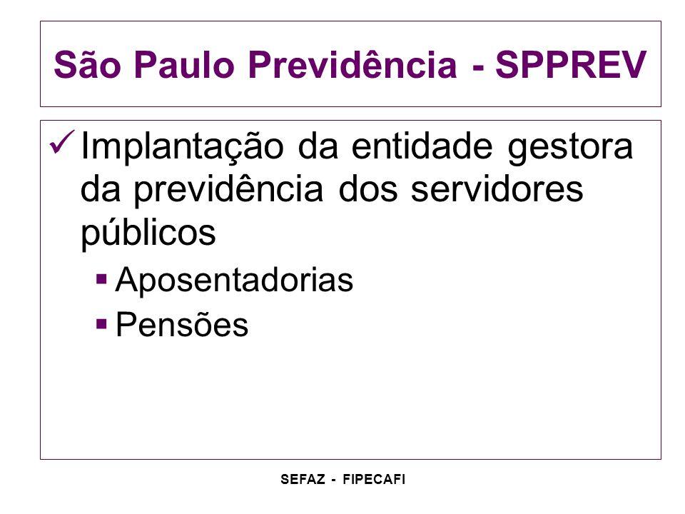 SEFAZ - FIPECAFI São Paulo Previdência - SPPREV Implantação da entidade gestora da previdência dos servidores públicos Aposentadorias Pensões