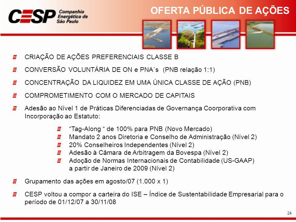 CRIAÇÃO DE AÇÕES PREFERENCIAIS CLASSE B CONVERSÃO VOLUNTÁRIA DE ON e PNA´s (PNB relação 1:1) CONCENTRAÇÃO DA LIQUIDEZ EM UMA ÚNICA CLASSE DE AÇÃO (PNB) COMPROMETIMENTO COM O MERCADO DE CAPITAIS Adesão ao Nível 1 de Práticas Diferenciadas de Governança Coorporativa com Incorporação ao Estatuto: Tag-Along de 100% para PNB (Novo Mercado) Mandato 2 anos Diretoria e Conselho de Administração (Nível 2) 20% Conselheiros Independentes (Nível 2) Adesão à Câmara de Arbitragem da Bovespa (Nível 2) Adoção de Normas Internacionais de Contabilidade (US-GAAP) a partir de Janeiro de 2009 (Nível 2) Grupamento das ações em agosto/07 (1.000 x 1) CESP voltou a compor a carteira do ISE – Índice de Sustentabilidade Empresarial para o período de 01/12/07 a 30/11/08 OFERTA PÚBLICA DE AÇÕES 24