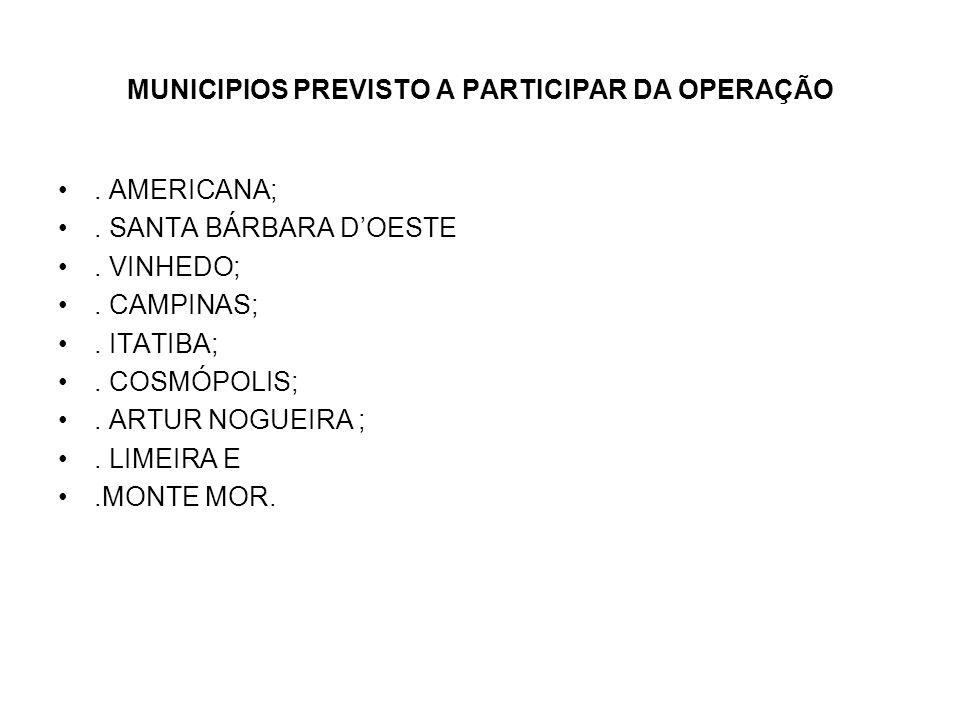 MUNICIPIOS PREVISTO A PARTICIPAR DA OPERAÇÃO.AMERICANA;.