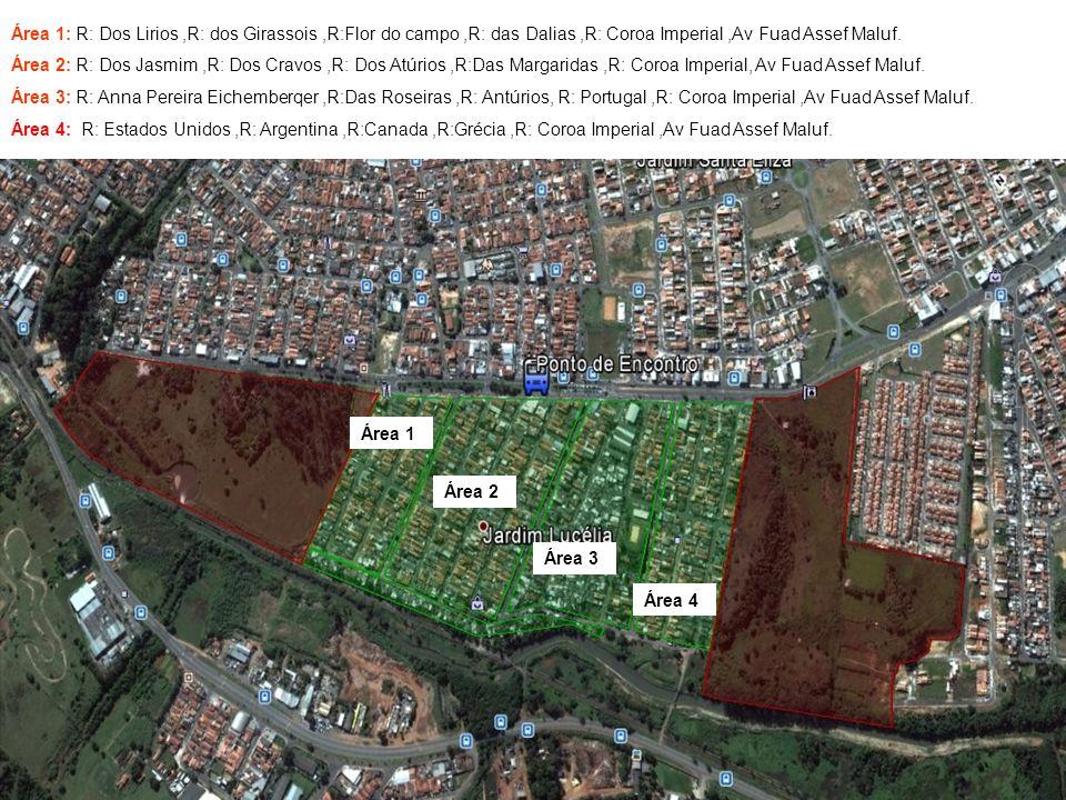 Área 1: R: Dos Lirios,R: dos Girassois,R:Flor do campo,R: das Dalias,R: Coroa Imperial,Av Fuad Assef Maluf.