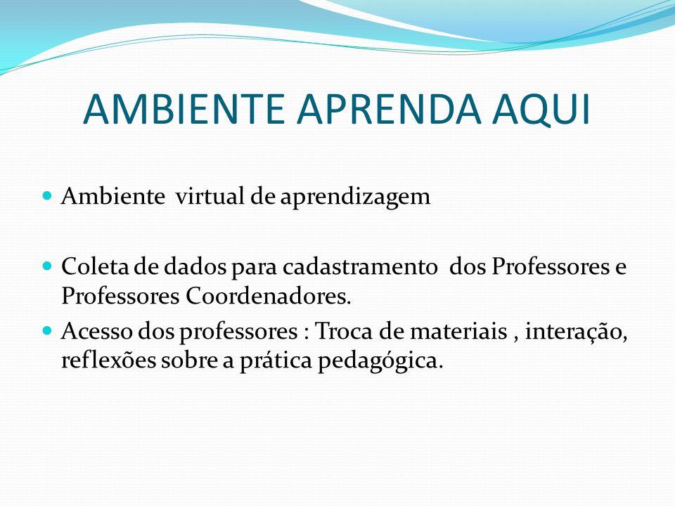AMBIENTE APRENDA AQUI Ambiente virtual de aprendizagem Coleta de dados para cadastramento dos Professores e Professores Coordenadores. Acesso dos prof