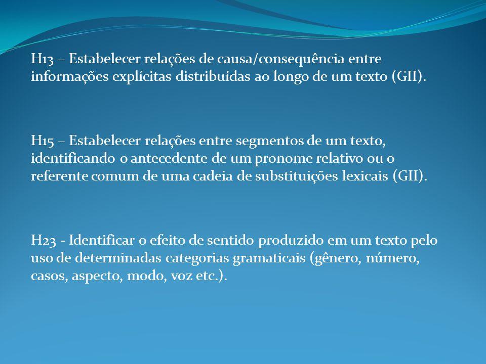 H13 – Estabelecer relações de causa/consequência entre informações explícitas distribuídas ao longo de um texto (GII). H15 – Estabelecer relações entr