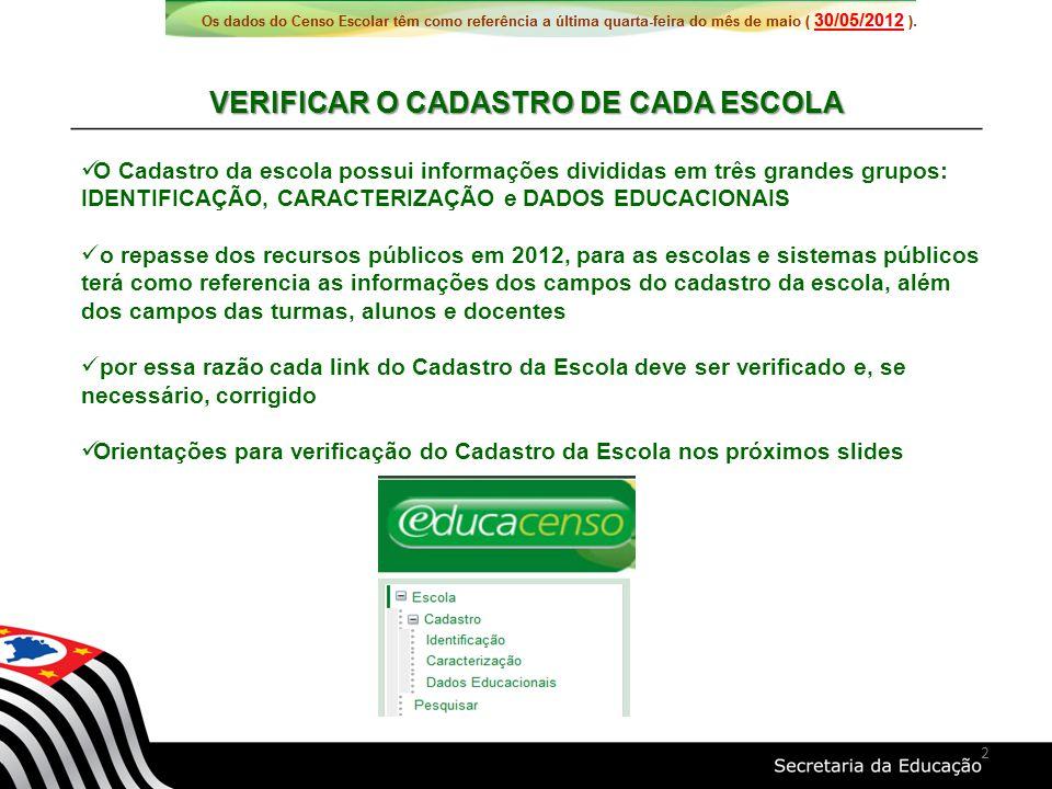 Nova etapa de ensino: EJA - Ensino Fundamental – Projovem A informação foi coletada no link CENSO 2012 no site www.gdae.sp.gov.br e será migrada para o campo 48 pela CIMA.