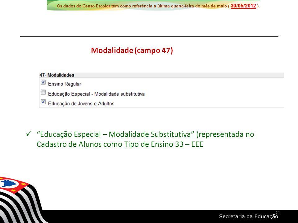 Educação Especial – Modalidade Substitutiva (representada no Cadastro de Alunos como Tipo de Ensino 33 – EEE Modalidade (campo 47) 21