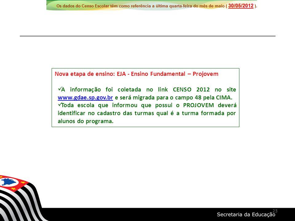 Nova etapa de ensino: EJA - Ensino Fundamental – Projovem A informação foi coletada no link CENSO 2012 no site www.gdae.sp.gov.br e será migrada para