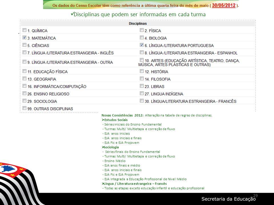 Disciplinas que podem ser informadas em cada turma Novas Consistências 2012: Alteração na tabela de regras de disciplinas. Estudos Sociais - Séries in