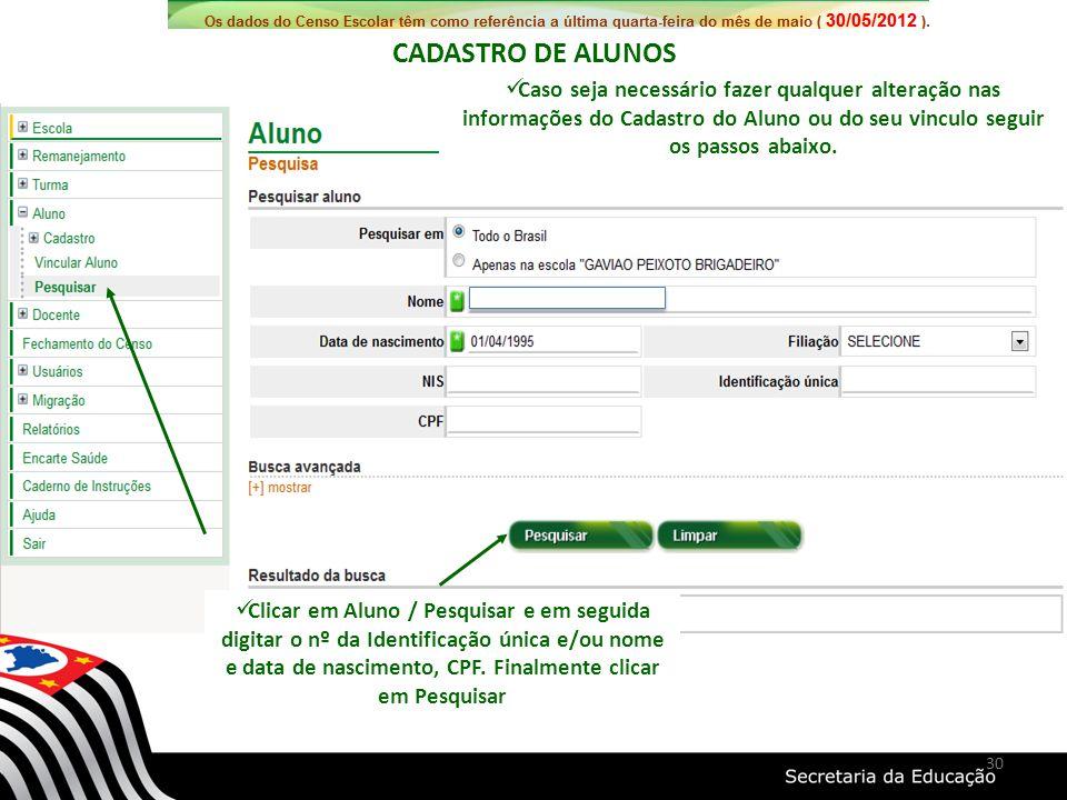 Clicar em Aluno / Pesquisar e em seguida digitar o nº da Identificação única e/ou nome e data de nascimento, CPF. Finalmente clicar em Pesquisar Caso