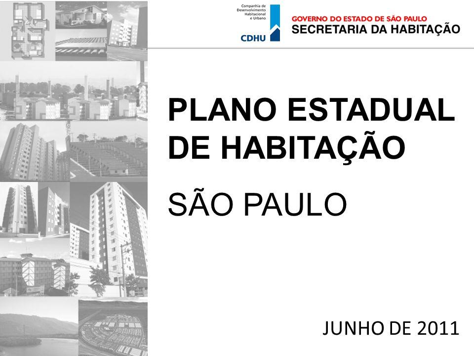 JUNHO DE 2011 PLANO ESTADUAL DE HABITAÇÃO SÃO PAULO