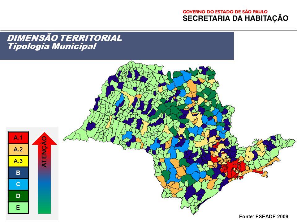DIMENSÃO TERRITORIAL Tipologia Municipal Fonte: FSEADE 2009 A.1 A.2 A.3 B C D E ATENÇÃO