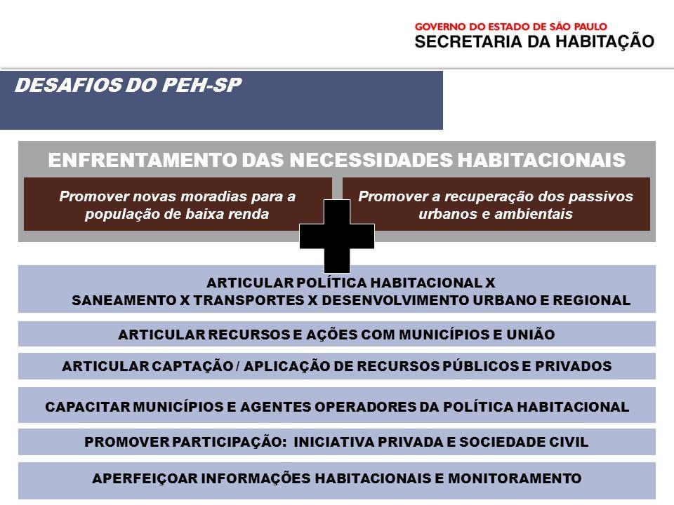 DESAFIOS DO PEH-SP ENFRENTAMENTO DAS NECESSIDADES HABITACIONAIS Promover novas moradias para a população de baixa renda Promover a recuperação dos pas