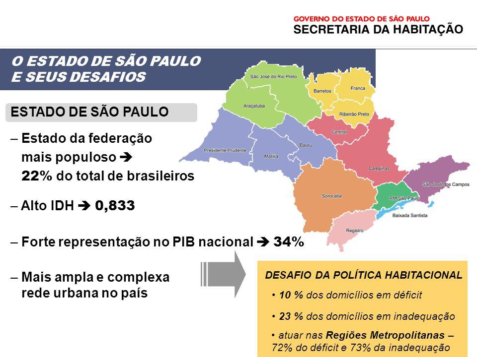 ESTADO DE SÃO PAULO – Estado da federação mais populoso 22% do total de brasileiros – Alto IDH 0,833 – Forte representação no PIB nacional 34% – Mais
