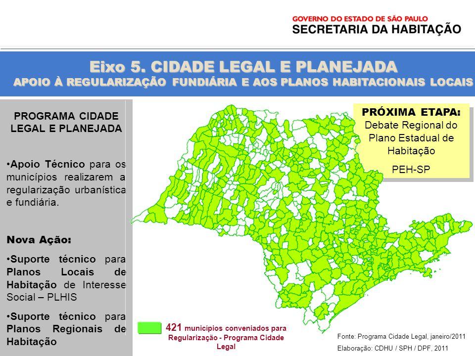 Eixo 5. CIDADE LEGAL E PLANEJADA APOIO À REGULARIZAÇÃO FUNDIÁRIA E AOS PLANOS HABITACIONAIS LOCAIS 421 municípios conveniados para Regularização - Pro