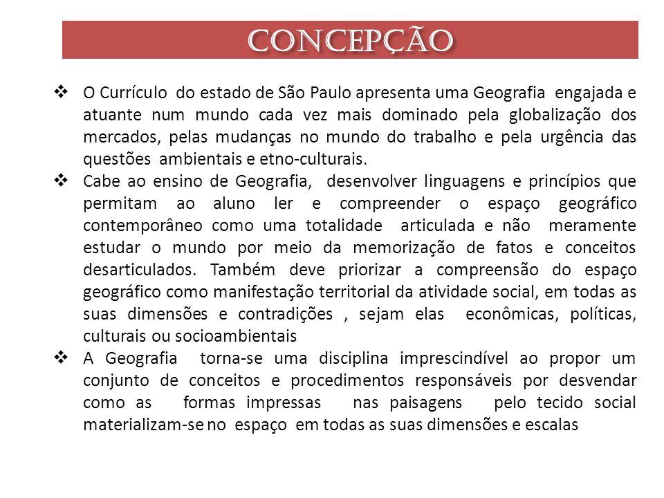 CONCEPÇÃO O Currículo do estado de São Paulo apresenta uma Geografia engajada e atuante num mundo cada vez mais dominado pela globalização dos mercado