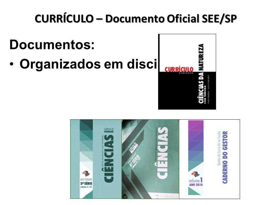 Documentos: Organizados em disciplinas CURRÍCULO – Documento Oficial SEE/SP