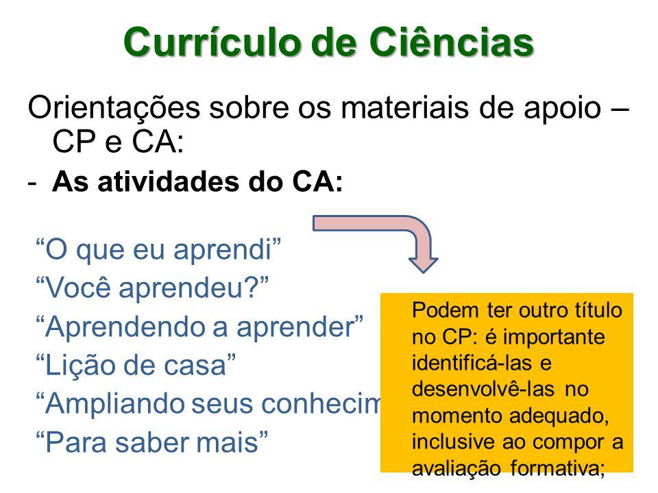 Orientações sobre os materiais de apoio – CP e CA: -As atividades do CA: O que eu aprendi Você aprendeu.