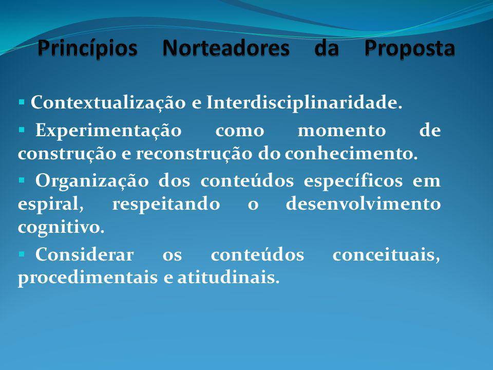 Contextualização e Interdisciplinaridade. Experimentação como momento de construção e reconstrução do conhecimento. Organização dos conteúdos específi