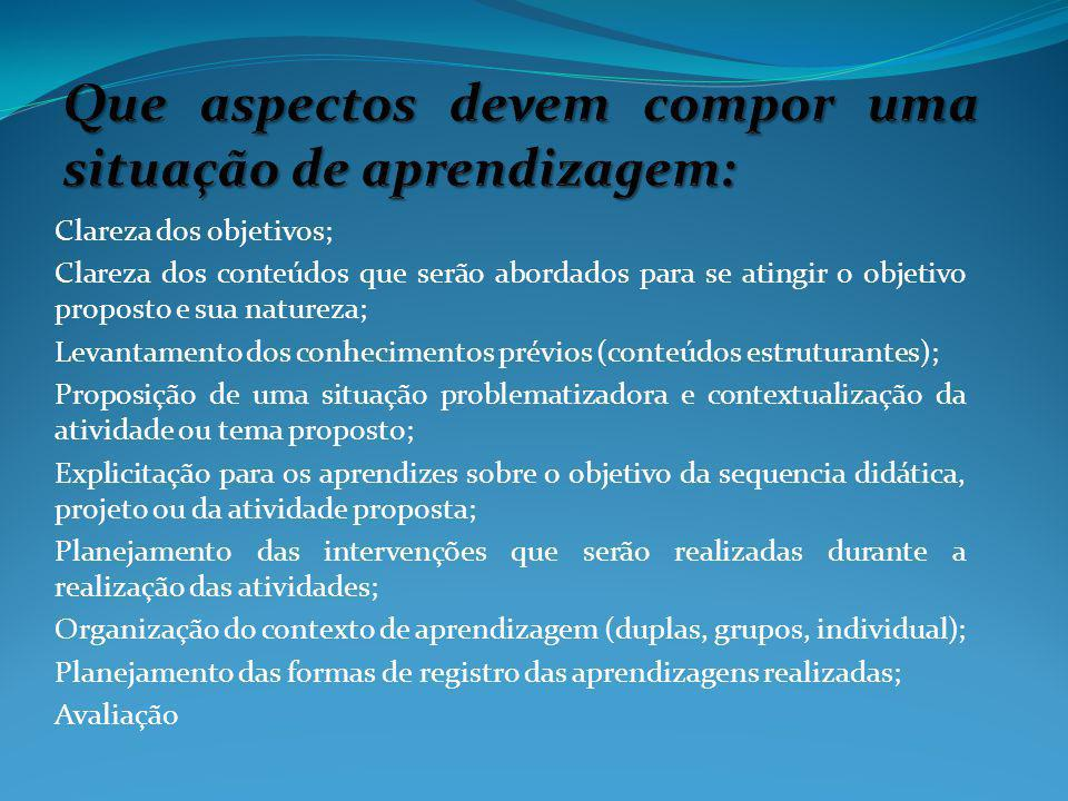 Clareza dos objetivos; Clareza dos conteúdos que serão abordados para se atingir o objetivo proposto e sua natureza; Levantamento dos conhecimentos pr