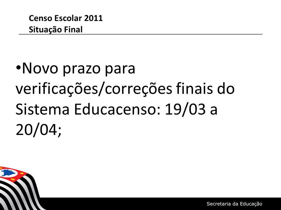 Censo Escolar 2011 Situação Final Novo prazo para verificações/correções finais do Sistema Educacenso: 19/03 a 20/04;