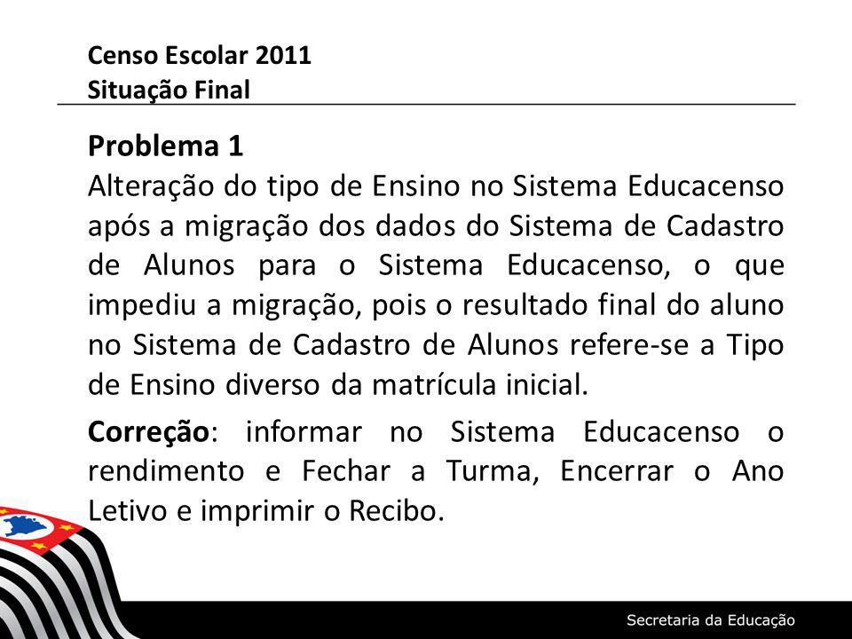 Problema 1 Alteração do tipo de Ensino no Sistema Educacenso após a migração dos dados do Sistema de Cadastro de Alunos para o Sistema Educacenso, o que impediu a migração, pois o resultado final do aluno no Sistema de Cadastro de Alunos refere-se a Tipo de Ensino diverso da matrícula inicial.