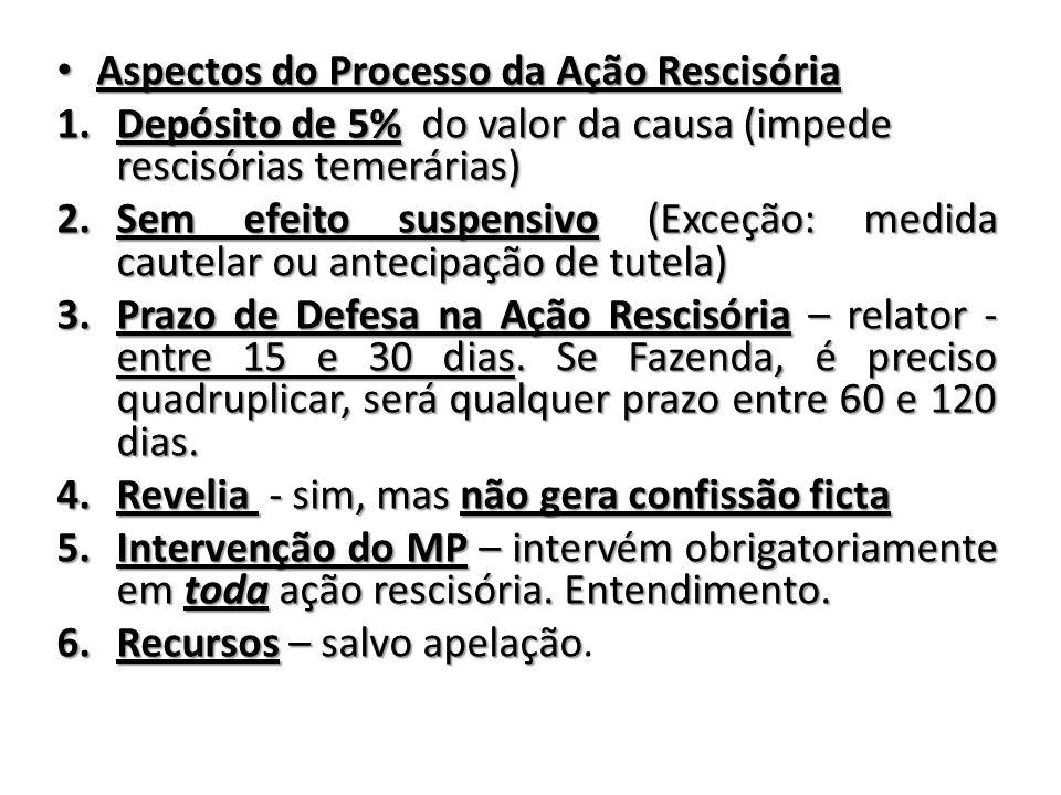 Aspectos do Processo da Ação Rescisória Aspectos do Processo da Ação Rescisória 1.Depósito de 5% do valor da causa (impede rescisórias temerárias) 2.S