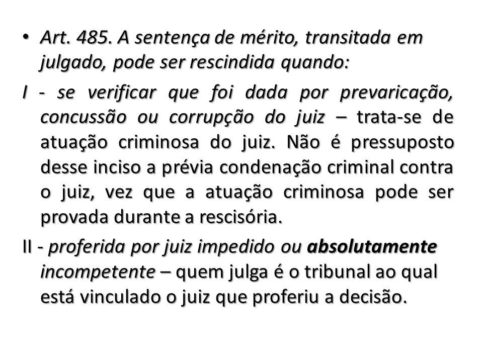 Art. 485. A sentença de mérito, transitada em julgado, pode ser rescindida quando: Art. 485. A sentença de mérito, transitada em julgado, pode ser res