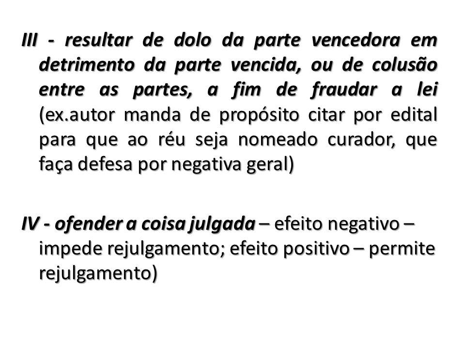 III - resultar de dolo da parte vencedora em detrimento da parte vencida, ou de colusão entre as partes, a fim de fraudar a lei (ex.autor manda de pro